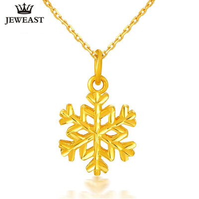 24K Pure Gold Pendant Real AU 999 Solid Gold Charm Nice Trendy Snowflake Upscale Classic Party Fine Jewelry Hot Sell New 2018