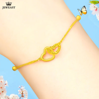 24K Pure Gold Bracelet Real 999 Solid Gold Bangle Refinement Heart Upscale Beautiful Trendy Classic Jewelry Hot Sell New 2018