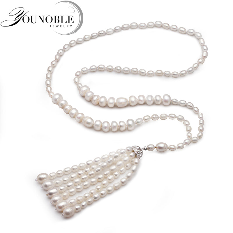 720mm Genuine Freshwater long pearl necklace women,trendy white natural pearl necklace birthday gift