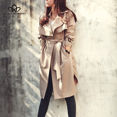 Casual women khaki Trench Coat long Outerwear loose clothes for lady with belt