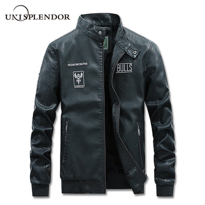 2019 Autumn Winter Men's Leather Jacket Coat Man Casual Motorcycle Leather Coat Mens Jackets Male Thick Warm Windbreaker YN10371