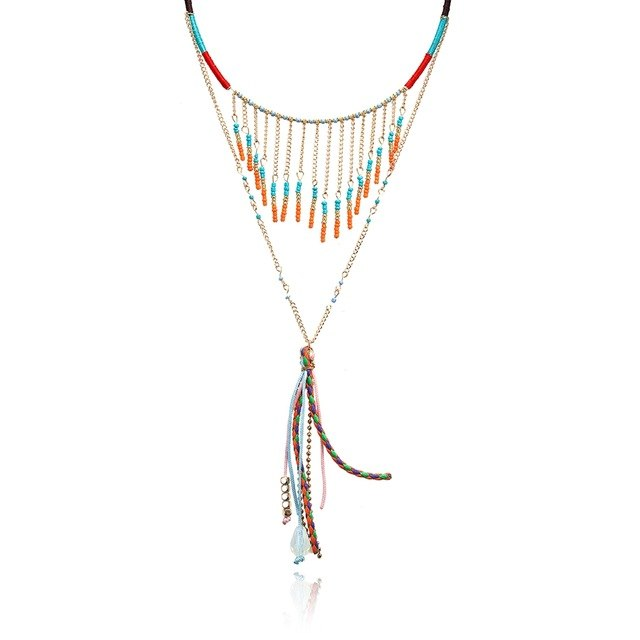 Women Ethnic Hand Made Necklace for Women's Colorful Beads Statement Tassel Necklaces & Pendants New Fashion Jewelry DYP006