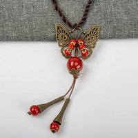 Butterflay Ceramic Beads Neckalces Hand-made fashion Jewelries special Pendant #GY367