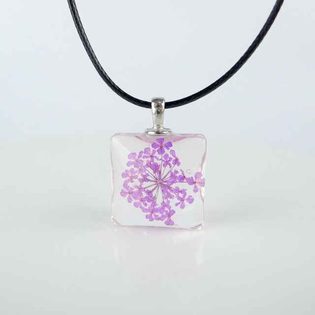 Colorful Dried Flower square glass pendants Hand Made Long necklace for women lovers #FY401