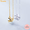Trusta 100% 925 Sterling Silver Necklace Jewelry Hand Made Gold Crown Pendant Choker Birthday Gift for Girl Teens DS1433