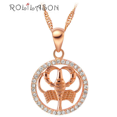 12 constellations Round Cancer design glittering pink golden color Fashion Jewelry Necklace pendant mother's day hand made LN607
