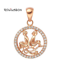 12 constellations Round Aquarius design glittering pink golden color Fashion Jewelry Necklace pendant girlfriend hand made LN606