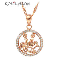 12 constellations Round Pisces design glittering pink golden color Fashion Jewelry Necklace pendant mother's day hand made LN605