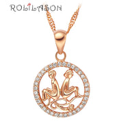 12 constellations Round Gemini design glittering pink golden color Fashion Jewelry Necklace pendant mother's day hand made LN597