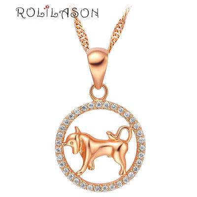 12 constellations Round Taurus design glittering yellow gold tone Fashion Jewelry Necklace pendant hand made LN595