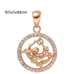 12 constellation Round Aquarius design glittering yellow gold tone Fashion Jewelry Necklace pendant mother's day hand made LN596