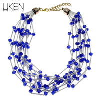 UKEN Women Party Dress Fashion Accessories 2018 Hand Made Jewelry Acrylic Pipe Crystal Beads Chain Statement Necklace N3803