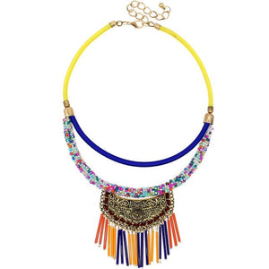 UKEN Women Hand Made Choker Necklace Multicolor Pipe Tassels Vintage Metal Pendant Candy Beads Chain Statement Fashion Jewelry