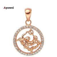 Ayowei12 constellation Round Aquarius design glittering yellow gold tone Jewelry Necklace pendant mother's day hand made LN596A
