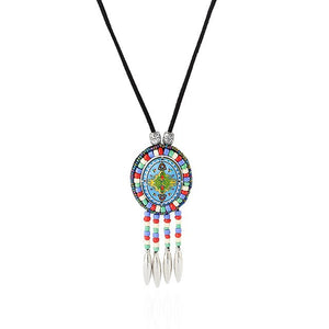 Hand Made Ethnic Enamel Tassel Pendant Necklace Multicolor Beads Boho Ancient silver  Jewelry Women Accessories