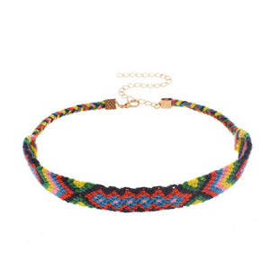 Hot Fashion Ethnic Colorful Weave Chokers Necklace Vintage Hand Made Necklace Alloy Star Statement Necklaces Female Jewelry
