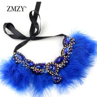 ZMZY Hand-made Feather Flowers Necklaces & Pendants Women Crystal Chain Necklace Vintage Jewelry Gift