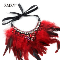 ZMZY Hand-made Feather Necklaces & Pendants Women Crystal Chain Bohemia Necklace Vintage Jewelry 5 Colors For Choose