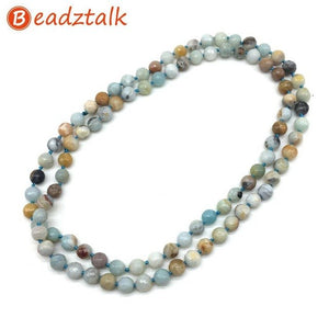 Natural Stones Beads Long Knotted Necklaces 80cm/32 inch Necklace 8 mm Bead Crystal Jaspers Good Quality Hand Made