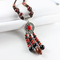 Long Necklace For Women Ceramic Beads Statement Charm Tassel Hollow Pendant Necklaces Sweater Chain Weave Rope Hand Made Jewelry