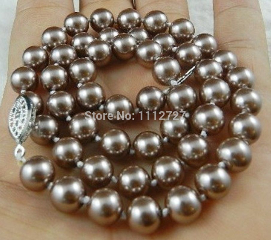 "HOT! 8mm Silver Champagne South Sea Shell Pearl Necklace Beads Hand Made Jewelry Natural Stone 18"" AAA+ MY4293 Wholesale Price"