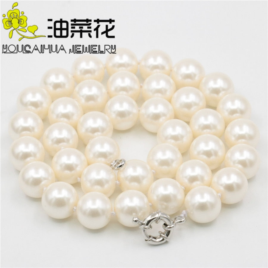 "Charming! 12mm South Skin Pink Sea Shell Pearl Necklace Beads Women Hand Made Fashion Jewelry Making Design 18"" Wholesale Price"