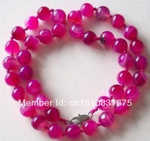 "10MM PINK CHALCEDONY BEADS NECKLACE Hand Made Natural Stone DIY Women Fashion Jewelry Making Design Mother's Day gifts 18""xu48"