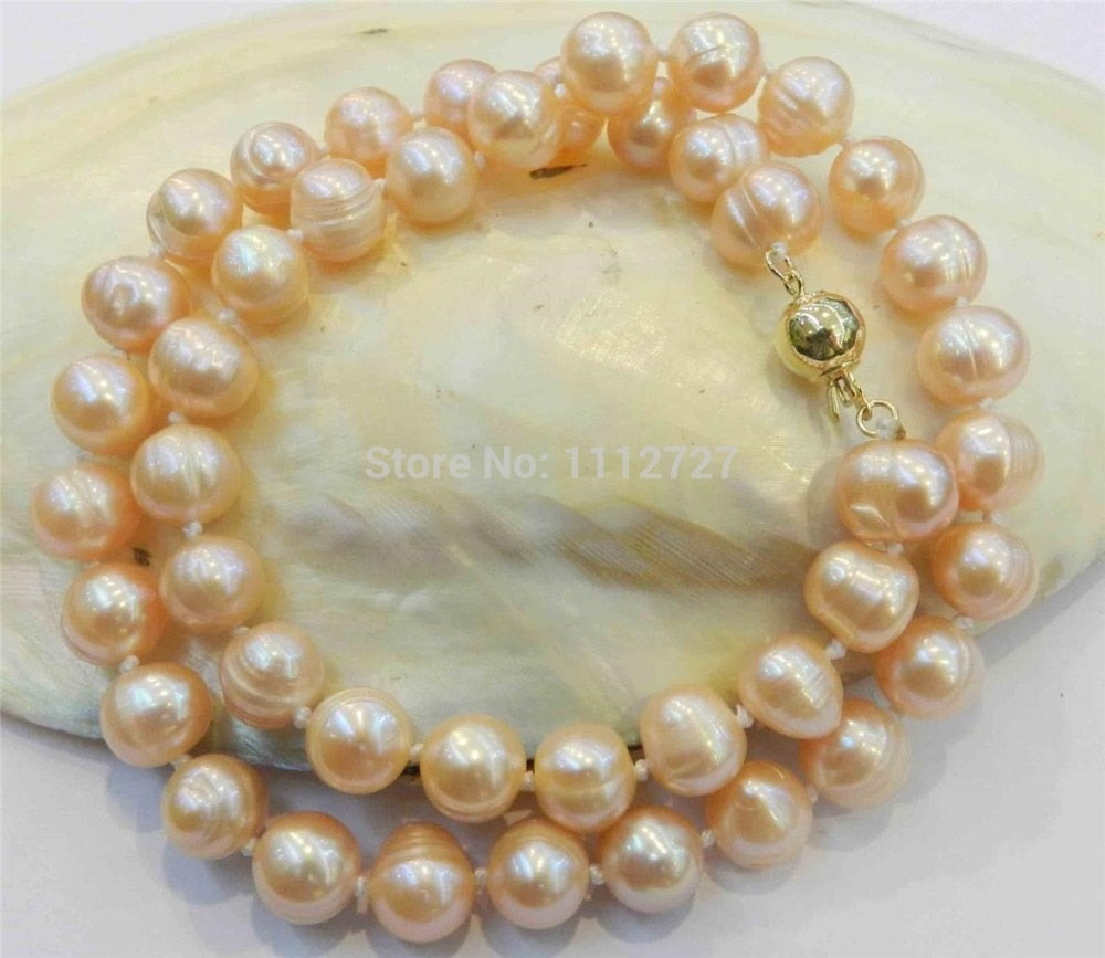"Fashion 9-10mm Real Natural Pink Cultivation Whorl Pearl Necklace Beads Hand Made Girl Jewelry Natural Stone 18""  Wolesale Price"