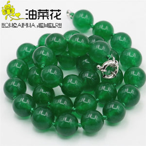 "Free Deliver Goods Wholesale Green Chalcedony 12mm Beads Necklace Natural Stone Hand Made Ornaments Mother's Day Gifts 18"" wj381"