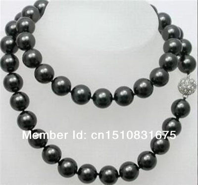 10mm Black Sea Shell Pearl Long Necklace Natural Stone Beads Hand Made Jewelry Making Design Mother's Day gifts 35 inch ux422