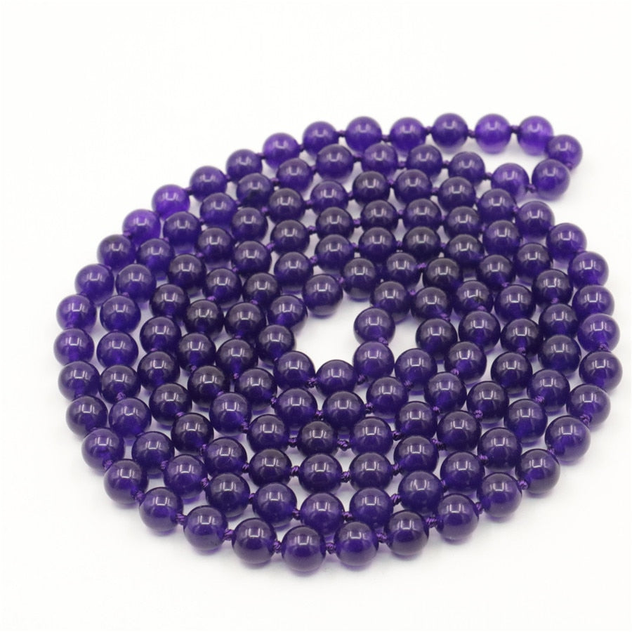 "Trendy Accessory Crafts Parts Jewelry Making 100"" 8mm Round Purple Necklace DIY Beads Stones Balls Gifts Hand Made Wholesale"