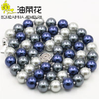 Wholesale And Retail Product Beautiful 8MM Mixed Color Pearl Shell Necklace Hand Made Fashion Jewelry Making Design 18inch WJ335