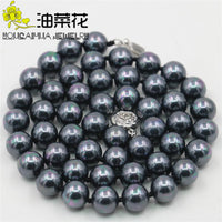 Hot Natural Beads Jewelry 8MM Multicolor Black Sea Shell Pearl Necklace Hand Made Gifts For Girl Women 18'' AAA Wholesale Price