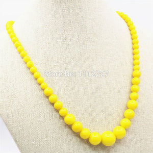 6-14mm Accessories Hallowmas Yellow Glass Lucky Beads Necklace Chain Women Girls Gifts Hand Made Fashion Jewelry Making Design