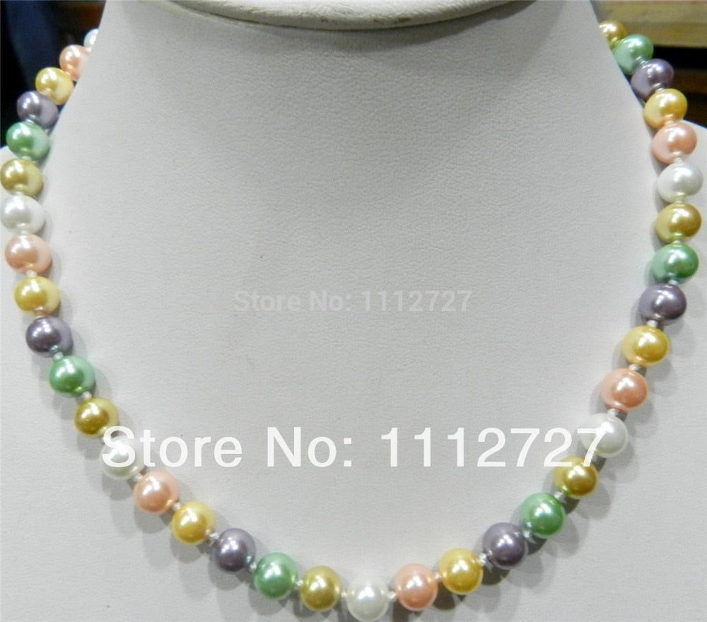 "8mm Multicolor south sea shell pearl necklace Fashion Jewelry Making Design Hand Made Ornaments Mother's Day gift 18"" AAA+ EA171"