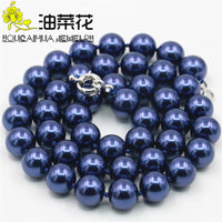 Discount DIY Charming 10mm South Dark Blue Shell Pearl Round Beads Necklace Beads Hand Made Jewelry Making About 43pcs/strands