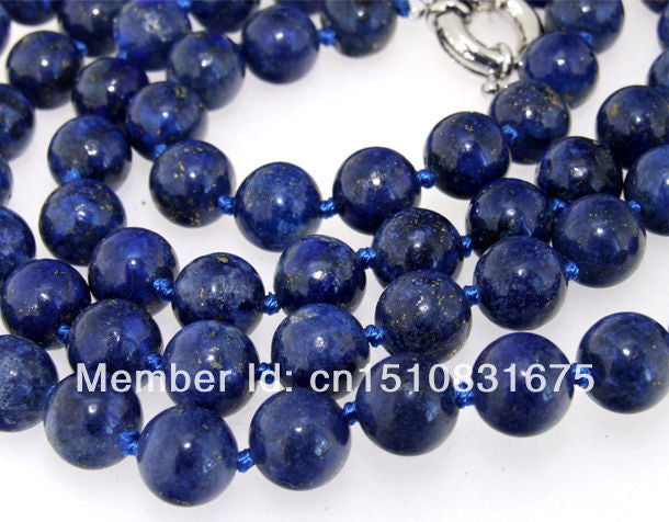 "6mm Natural Lapis lazuli  Beads Necklace Trendy Accessory Hand Made DIY Fashion Jewelry Making Design Mother's Day gifts 35""xu58"