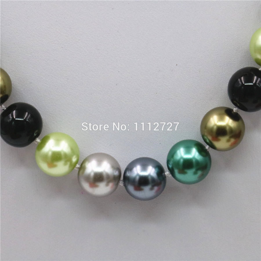 12mm Natural Multicolor Seashell Round Beads Necklace Chain Girls Christmas Gifts Hand Made Jewelry Making Accessories Crafts