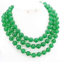 "Hot new fashion Long 12MM Natural Green chalcedony Jewelry Round Beads Necklace Natural Stone Hand Made 50""BV231 Wholesale Price"
