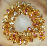 100pcs Yellow AB+ Crystal Loose Beads Hand Made DIY Accessory Parts For Necklace Bracelet Fashion Jewelry Making Design 4*6mm