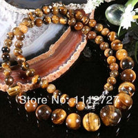 "6-14MM EANUINE TIEAR EYE Gems STONE ROUND BEADS NECKLACE Women Girl Fashion Jewelry Making Design Hand Made Ornaments 18"" ED148"