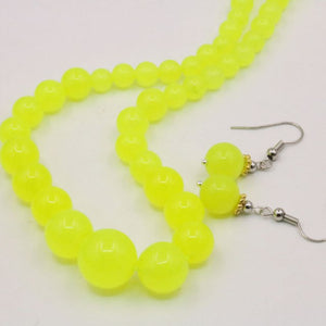 6-14mm Tower Necklace Chain Earrings Sets Lemon Natural Stone Balls Gifts Round Beads Hand Made Jewelry 18inch Gifts Accessories