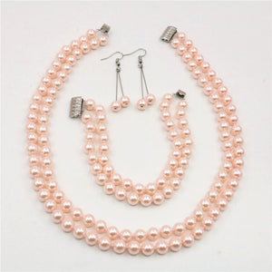 Jewelry sets 2Rows 8mm Pink South Sea Shell Pearl Necklace Bracelet Earrings Hand Made DIY Beads AAA Grade BV454 Wholesale Price