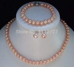 Beautiful! 8-9mm Pink Akoya Pearl Necklace Bracelet Earrings 1 Sets Hand Made Jewelry Sets Beads Natural Stone Wholesale Price