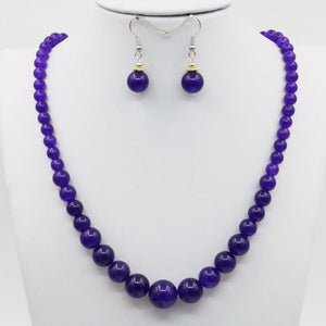 6-14mm Tower Necklace Chain Earring Sets Purple Chalcedone Crystal Stone Balls 18inch Beads Hand Made DIY Jewelry Gift Accessory