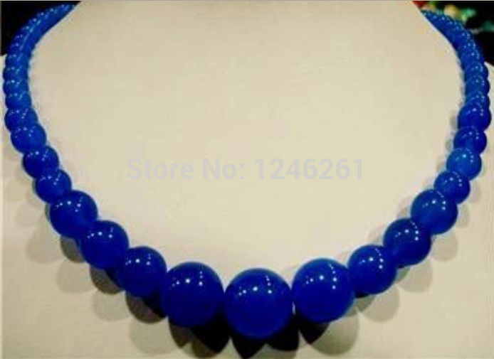Natural 6-14mm Rould Blue Chalcedony Necklace Beads Hand Made Jewelry Making Natural Stone Rope Chain 18inch (Minimum Order1)