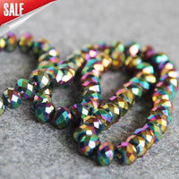 New For Necklace 8*10mm Faceted Purple AB+ Colorful Glass Crystal Loose Beads Stone Hand Made DIY Jewelry Making Design 50pcs
