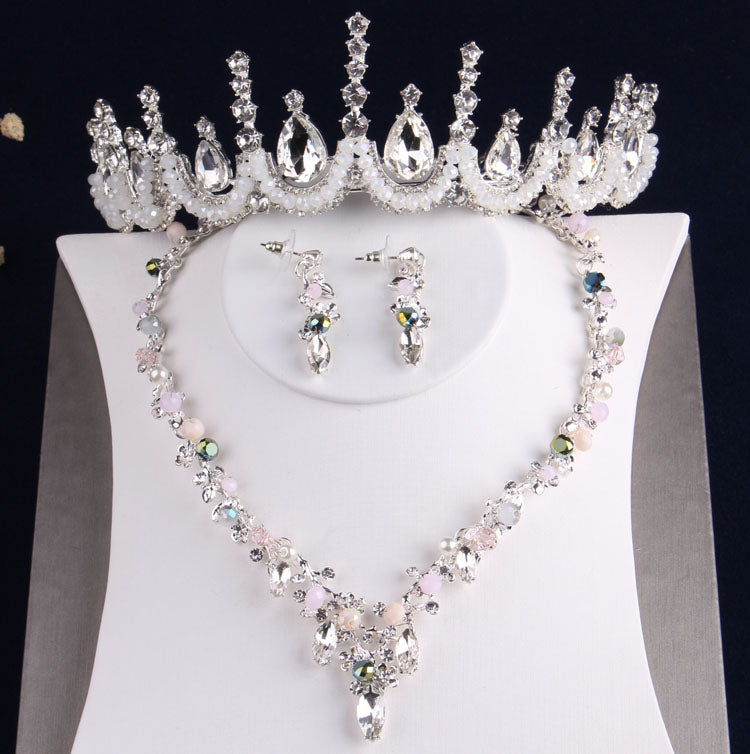Korean hand-made beads crown  Prince necklace earrings set wedding accessories