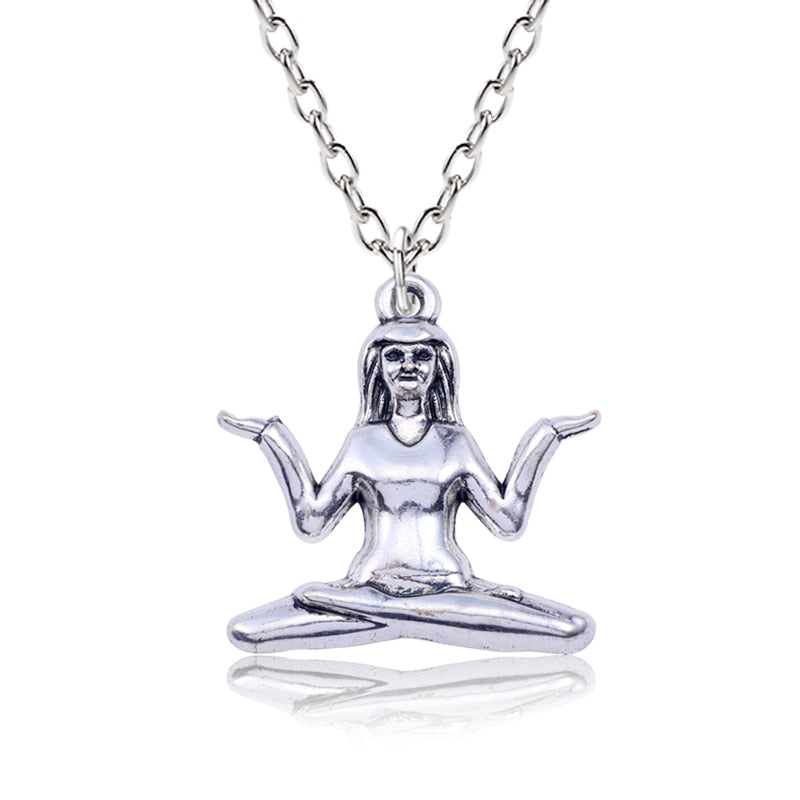 Ancient Silver Sitting Yoga Girl Pendant Necklace For Women Creative Keepsake Outdoor Sports Humanoid Hand Made Charm Necklaces