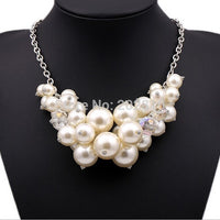 Factory Hand made new type fashion trendy necklace,White plated-AB crystal perfectly round pearl chokers chairns necklace